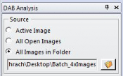 Choose to analyze your active image, all opened images, or a folder of images.